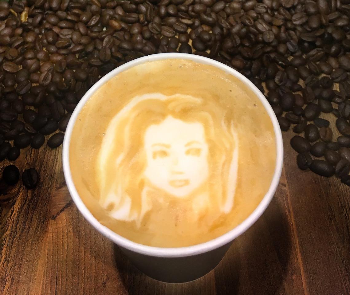 Portrait of Julie done by a latte artist