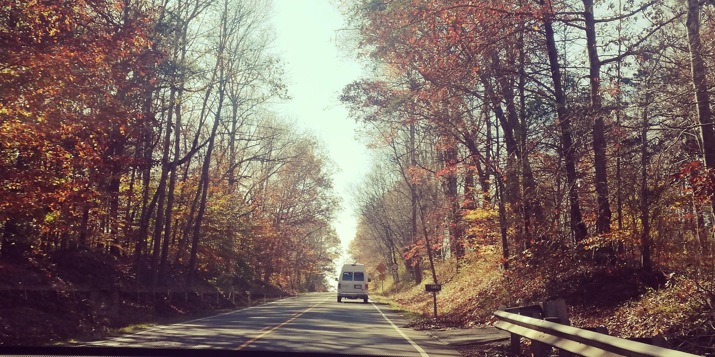 Traveling along a secondary road viewing the last of the fall foliage.