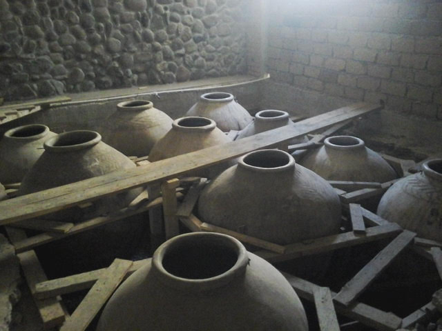 Clay amphora at Voskevaz Winery. The traditional winemaking method.