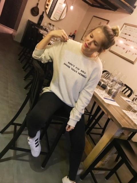 Modeling a Wine Shiksa sweatshirt.