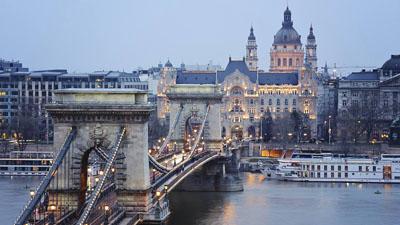 Budapest's Chain Bridge and the Gresham Palace