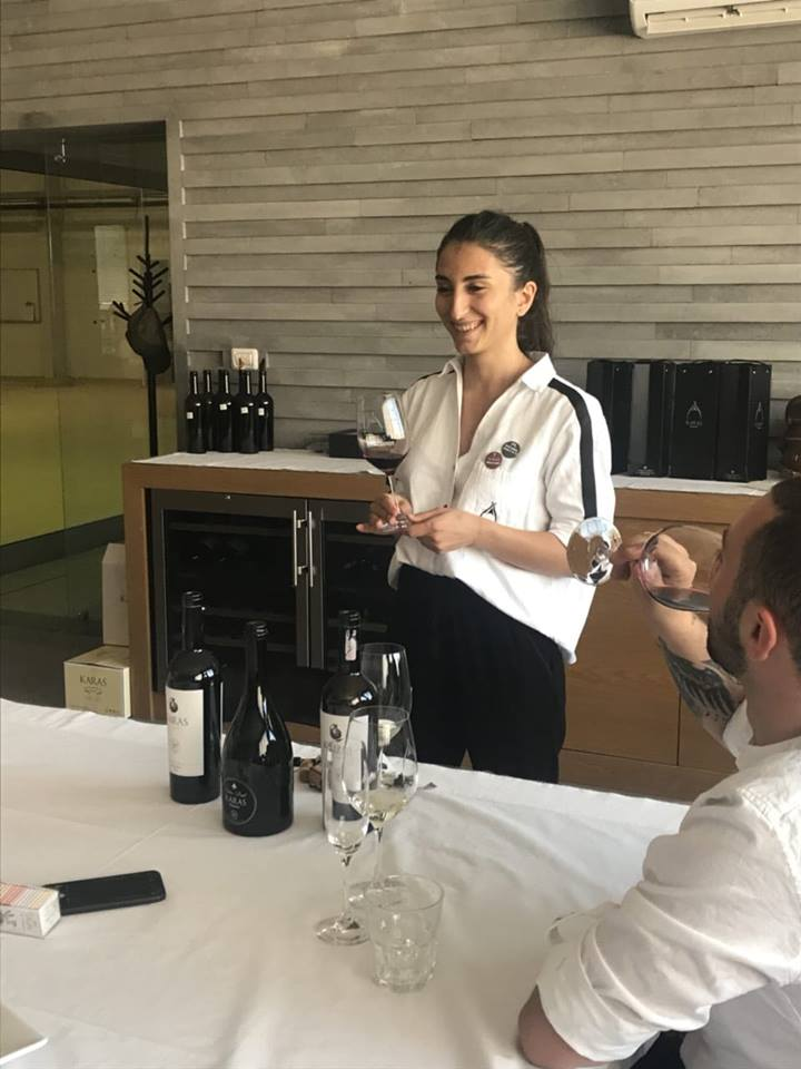 Astghik conducting a tasting of Armenian wines.