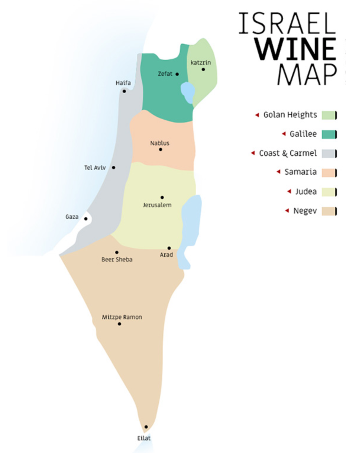 Wine Map of Isreal —Photo credit Sommelier Israel
