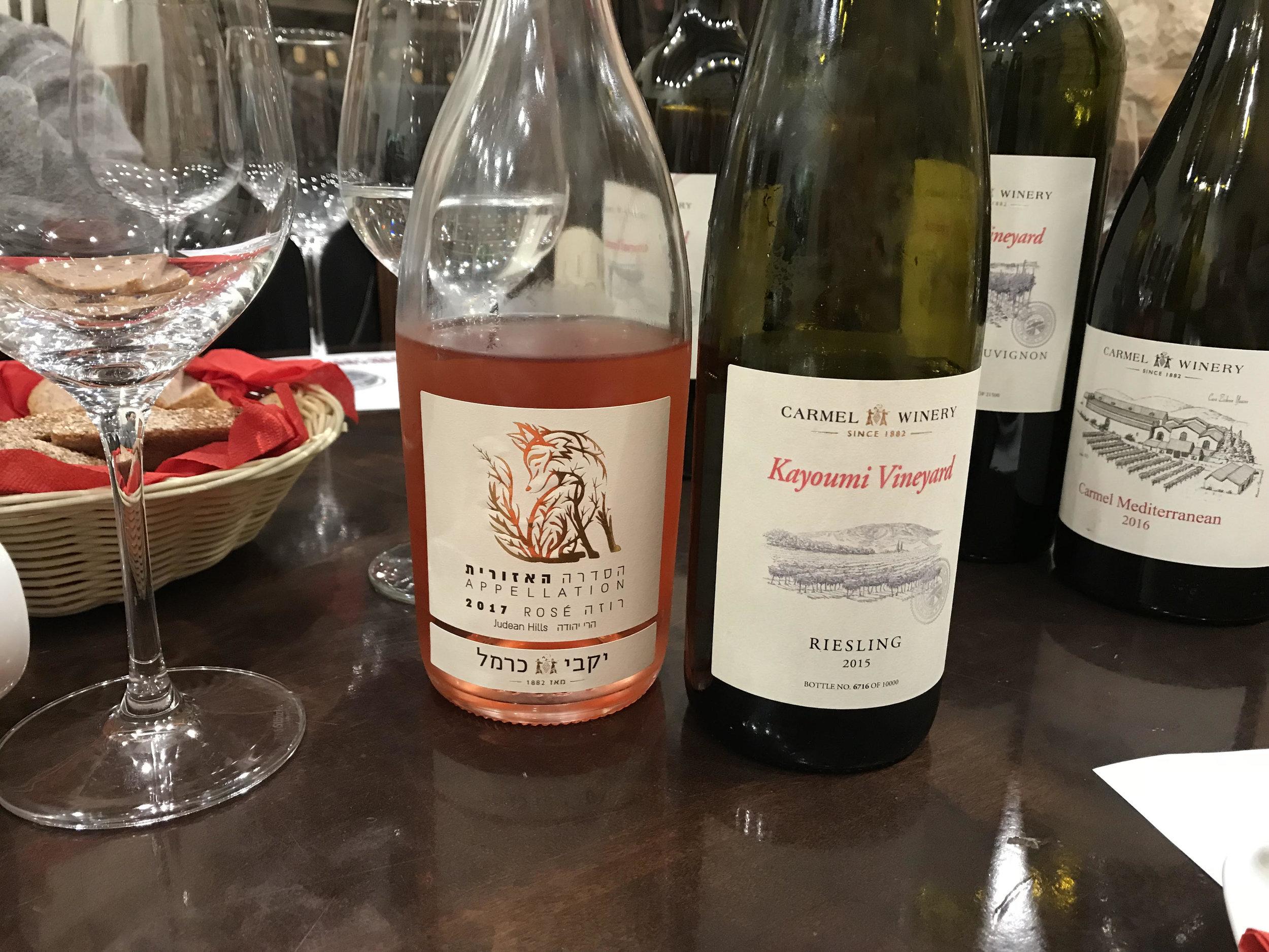 Bottles of Carmel Winery wines.  Credit Svetlana Bekker
