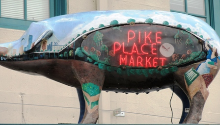Rachael the pig at Pike Place Market, Seattle.