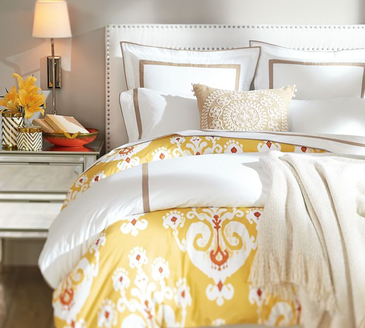 Pottery Barn's organic Ikat medallion print with bright colors and a washed effect. Photo: Pottery Barn.