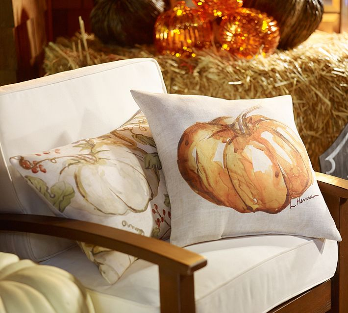Pottery Barn's outdoor, fall pillows.