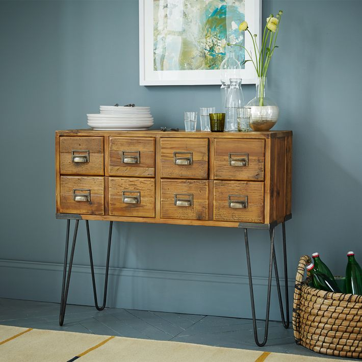 West Elm's reclaimed pine library storage.