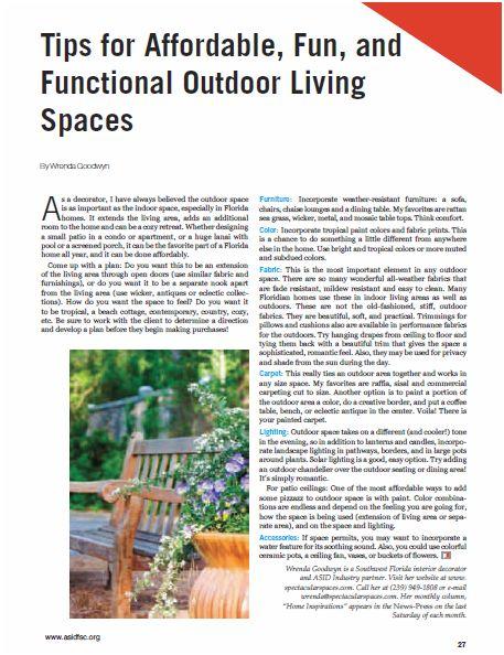 Photo of ASID Professional Design magazine article by Wrenda Goodwyn