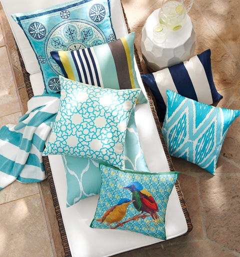 Add spring with outdoor Astrid trellis embroidered pillows. Photo: Pottery Barn.