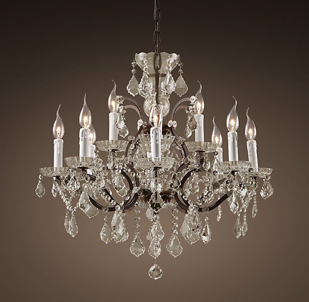 Inspired by the opulence of Victorian English chandeliers, this Rococo iron and crystal chandelier from Restoration Hardware adds sparkle to any room. Photo: Restoration Hardware.