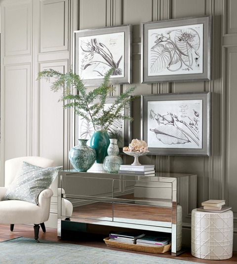 Williams-Sonoma's Harrington mirrored dresser brings Art Deco style to a room and has enough space for a basket filled with books. Photo: Williams-Sonoma.