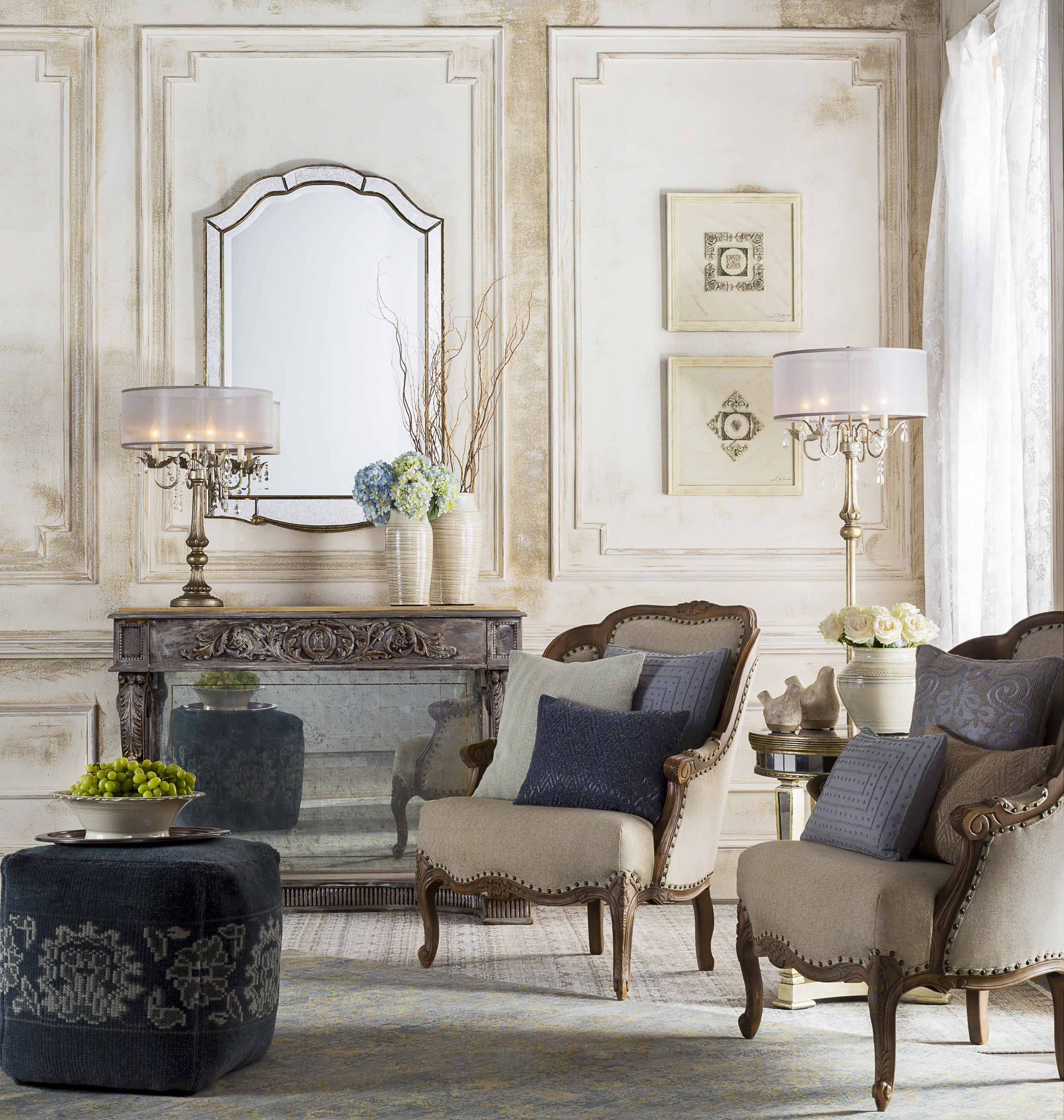 A nod to decadent luxury and vintage glamour with a deep sense of nostalgia. ReflectingEuropean tradition, the trend is feminine and indulgent. Photo courtesy of Surya.