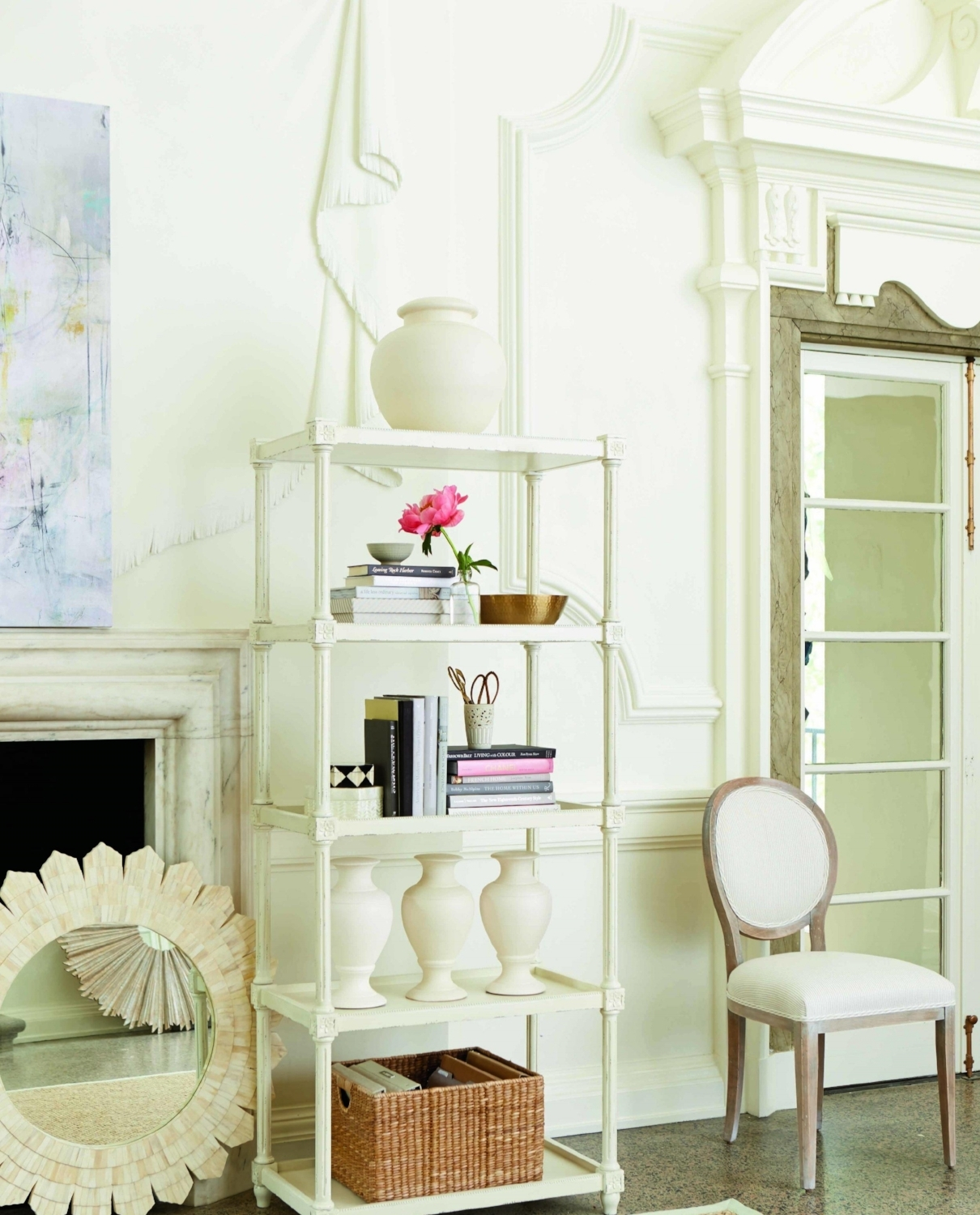 Casual elegance with creamy white walls. Moldings. Architectural elements. Photo courtesy of Ballard Designs.
