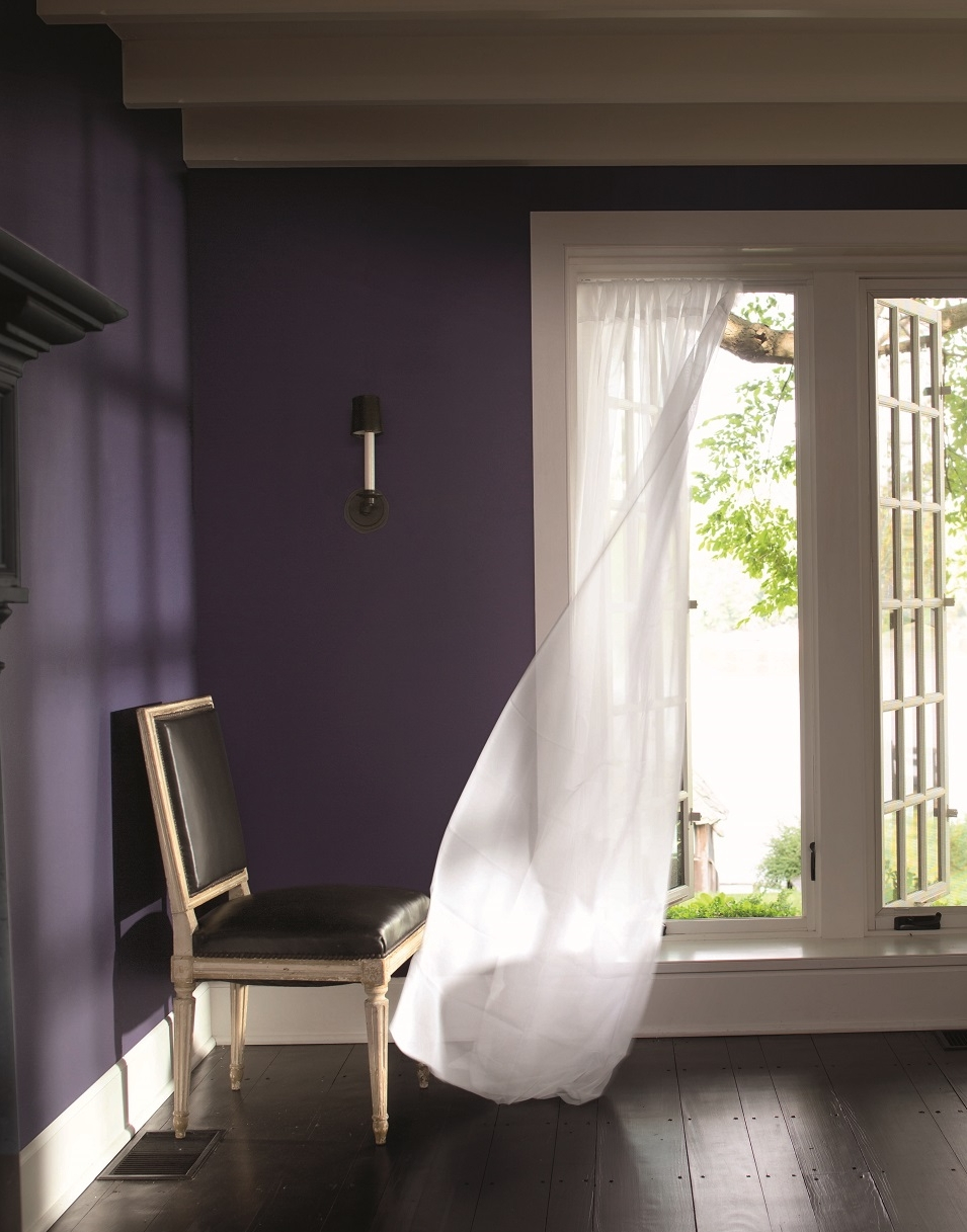 Beautiful with white trim, ceilings, draperies, Shadow stands on its own without a lot of fuss as Color of the Year. Photo: courtesy of Benjamin Moore.