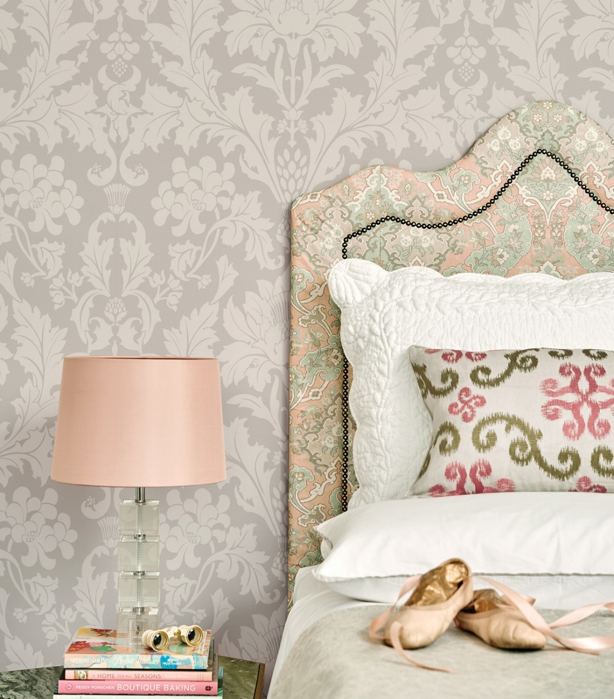 A trained professional will help you create a plan and collaborate with you on how you want your home to look. Shown: Cole & Son's Mariinsky damask Fonteyn, named after the Royal Ballet's prima ballerina. The two-toned design gives a soft, matt appearance. Available at Kravet to-the-trade showroom, Naples. Photo: courtesy of Kravet.