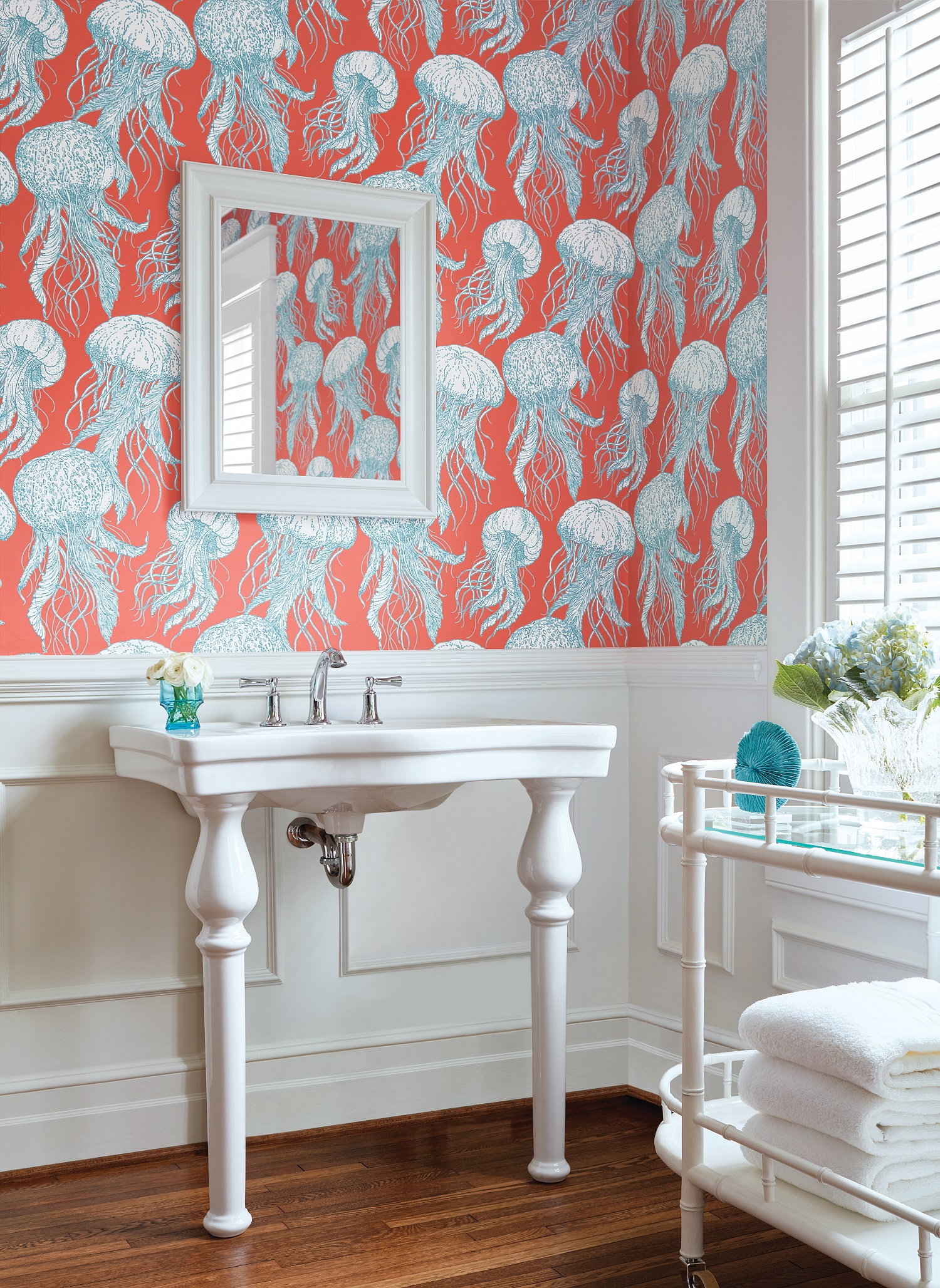 Have some fun this spring with  Jelly Fish Bl oom wall covering from Thibaut Design's Summer House Collection.  Photo courtesy of Thibaut Design.