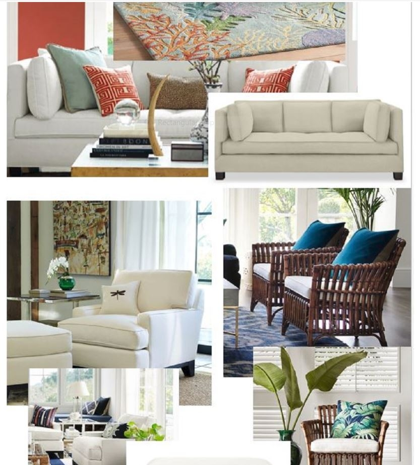 Create a vision board like this one that I designed for a client's new living room. It helps to visualize the pieces for a room and to show how they will look together.