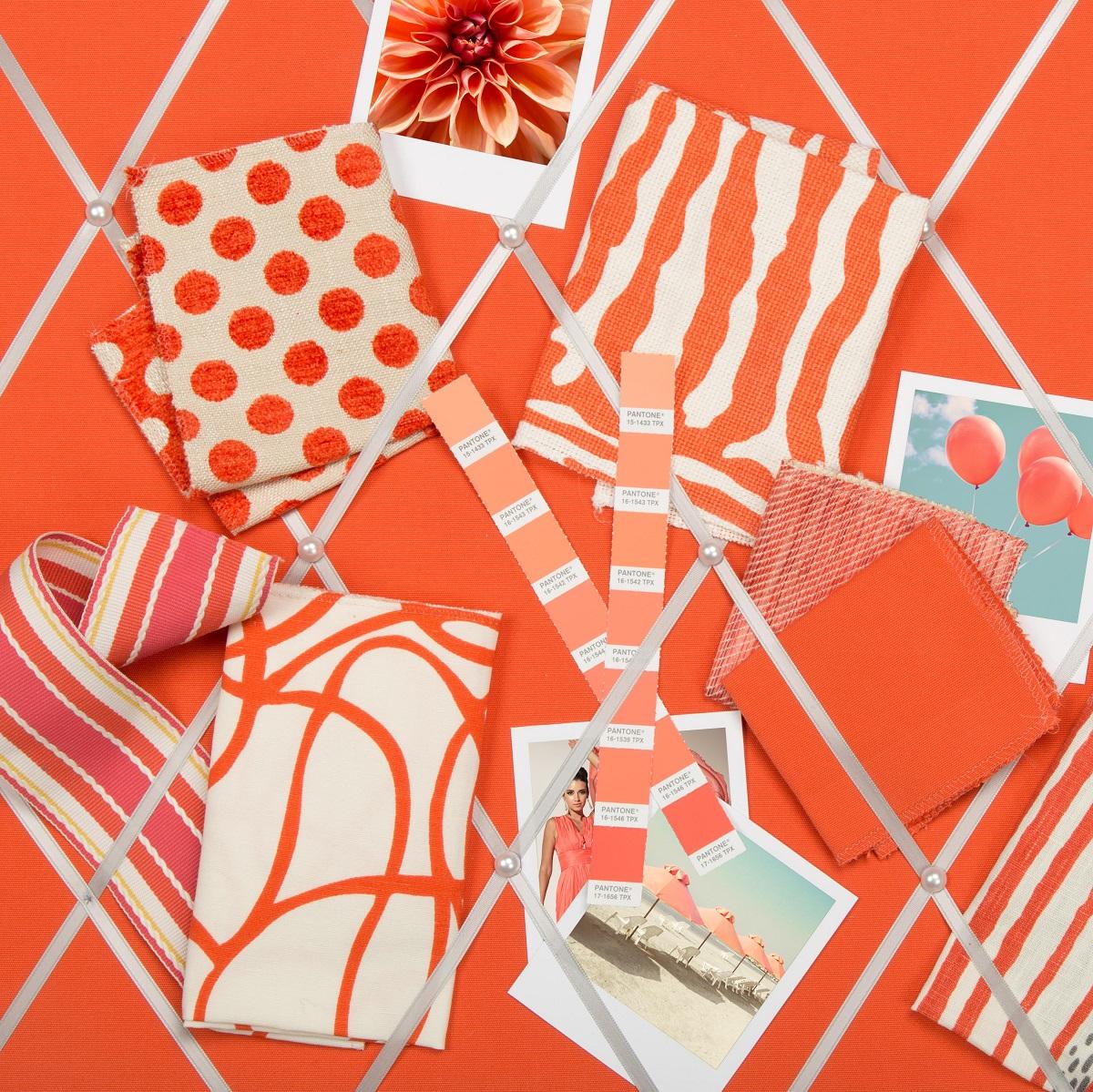 Kravet fabrics, trims and more in Pantone's Living Coral. Photo: Kravet.