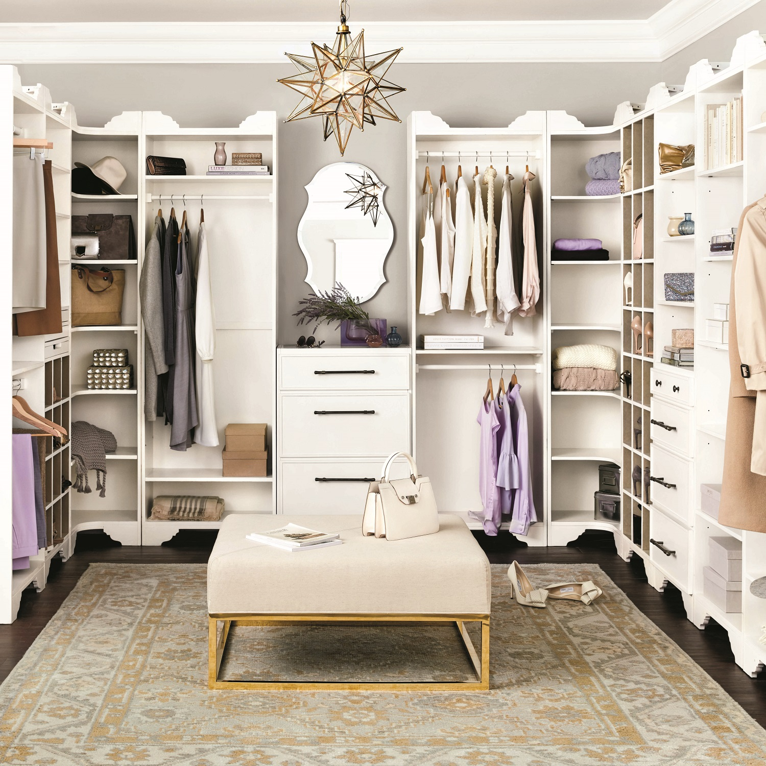 Looking for an organized, new closet (don't forget the chandelier!) in 2019? Shown: Ballard Design's Sarah affordable storage system offers the look of custom luxury. Photo: Ballard Designs