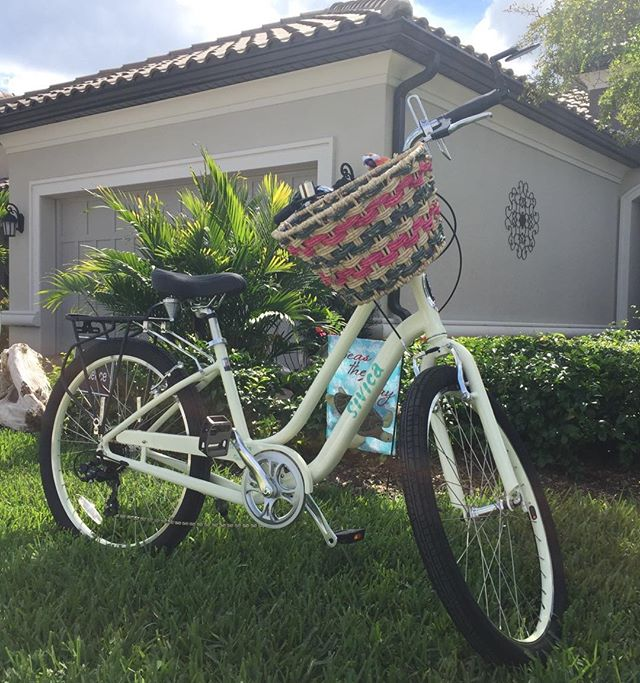 Happiness is my new #Schwinn #Sivica bike with a wicker basket!