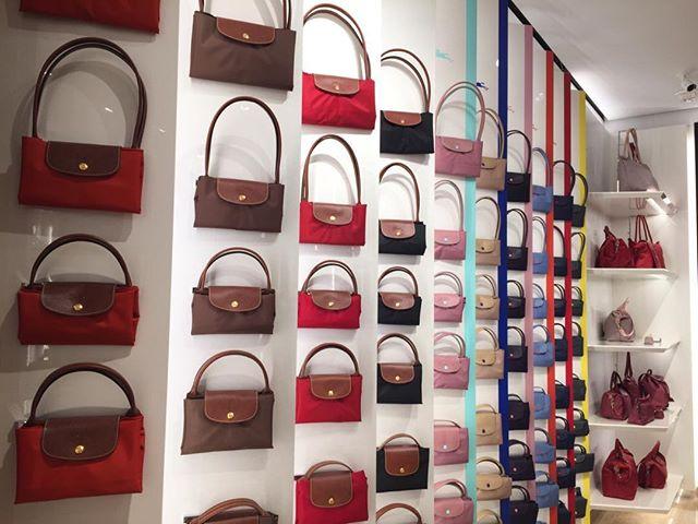 So many purses. So many colors at #Longchampnyc  #colorchangeseverything #interiordesign #homedecor #styleyourhome #homesweethome #homeinspiration #loveyourhomeagain #southwestfloridadecorator #styleyourhome #interiordecorating #affordabledesign #spectacularspaces