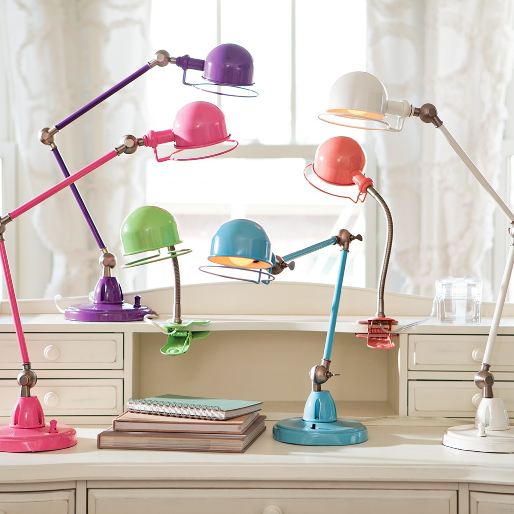 Pick a color! This task lamp has style and smarts. Three pivot points extend to the proper position, then lock into place. The flexible arm lets you direct light exactly where you want it. Photo: Pottery Barn