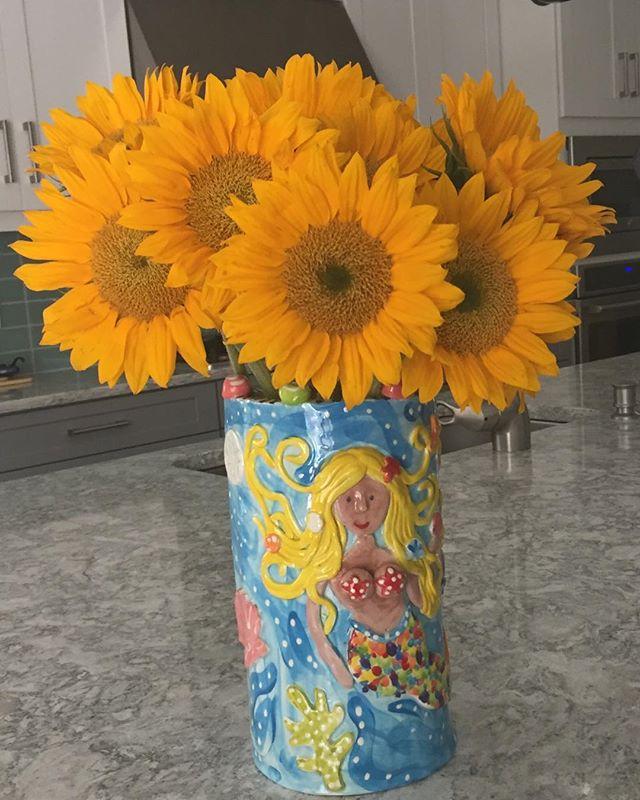 Happiness in a mermaid vase.  #sunflowers #spectacularspaces #simplepleasures
