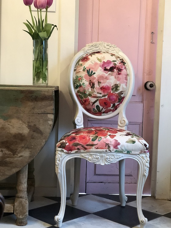 Pretty in floral pinks with a whitewash finish. Photo: Chair Whimsy