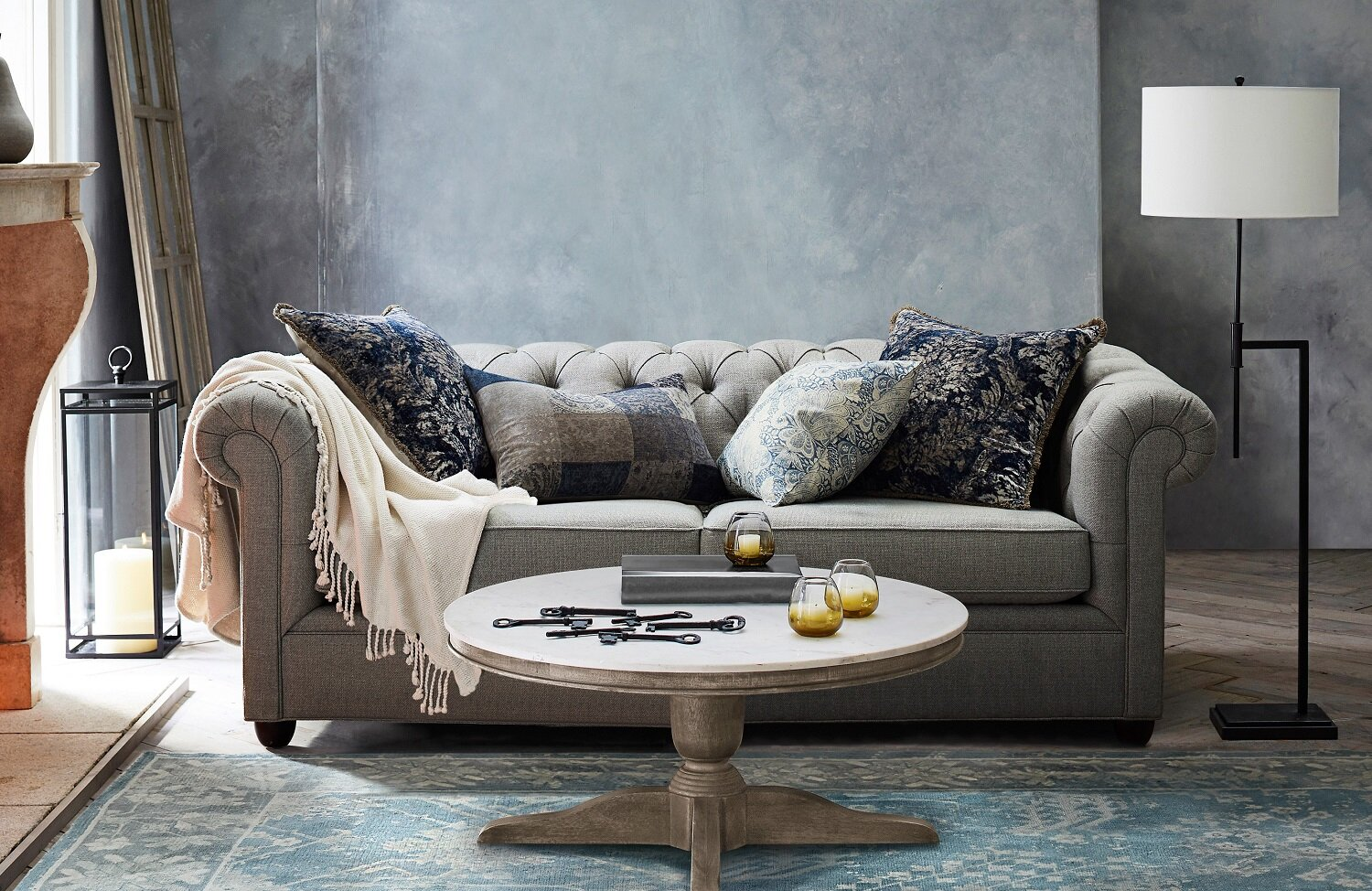 In the market for a new sofa? Glam it up with a chesterfield upholstered sofa. This one from Pottery Barn, has comfort and style and is crafted in the U.S. using eco-friendly materials. Photo: Pottery Barn