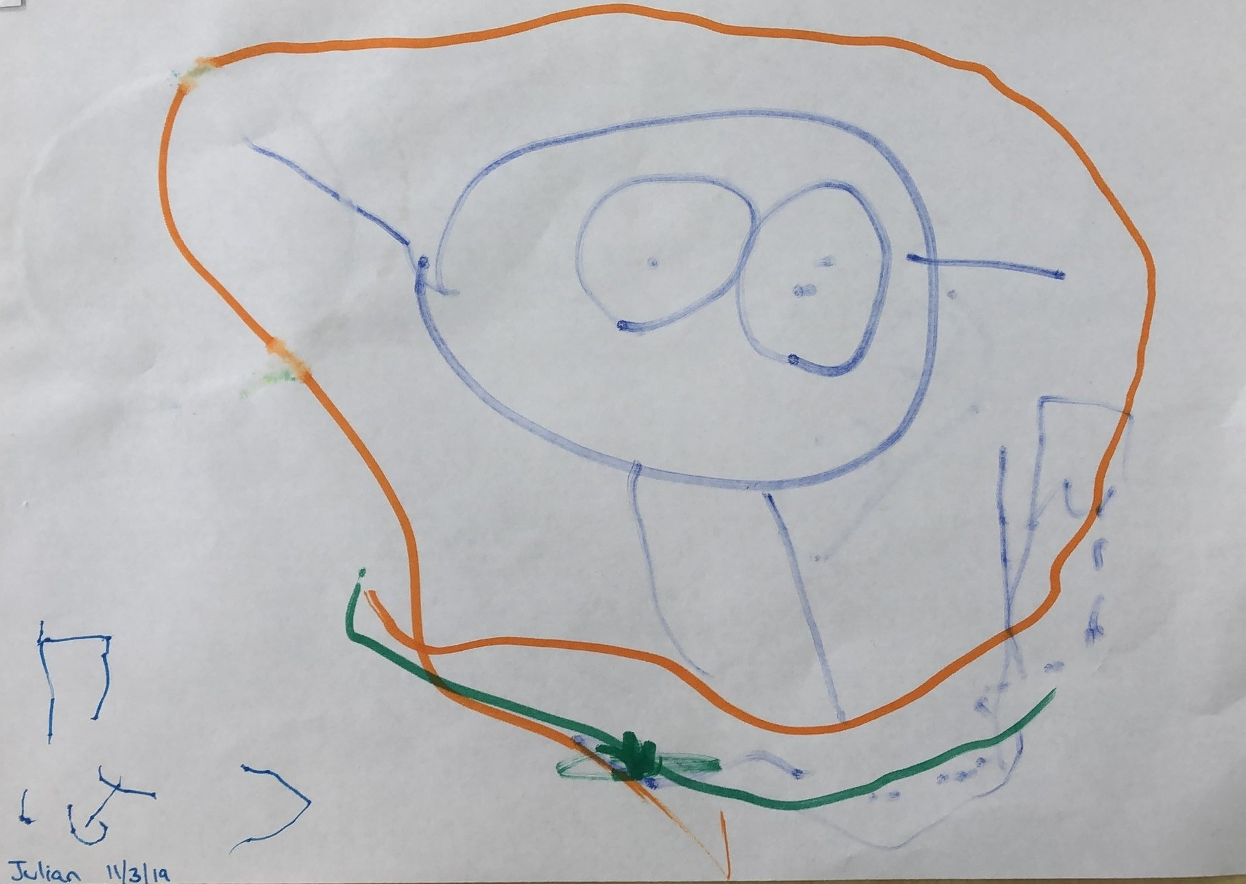 "Julian (5 Years Old) graphical depiction of what the word ""wonder'"" means to him"