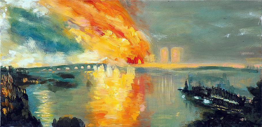 "City Burning | oil on canvas 12"" x 24"""