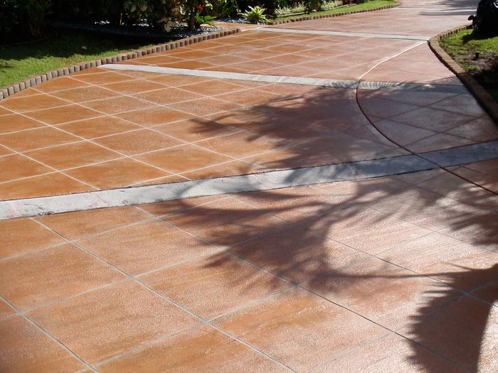 stained concrete driveway in kaanapali hillside
