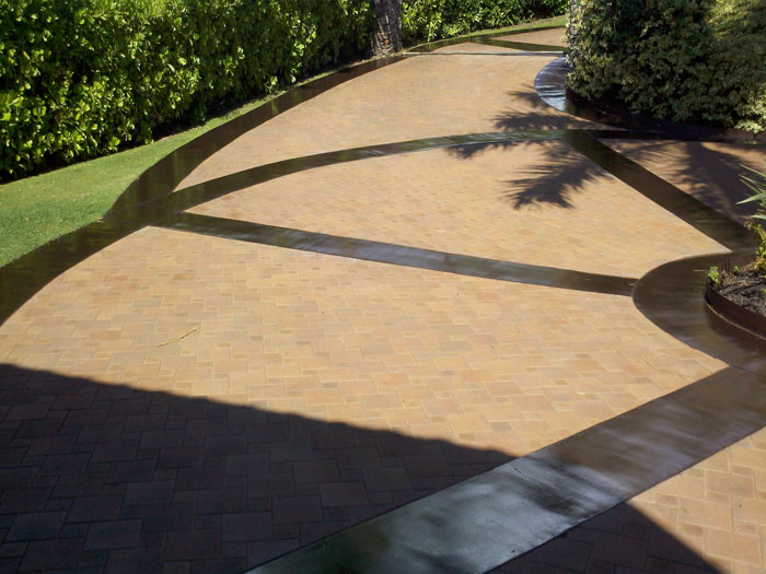 Paver Driveway w/ Stained Concrete Border