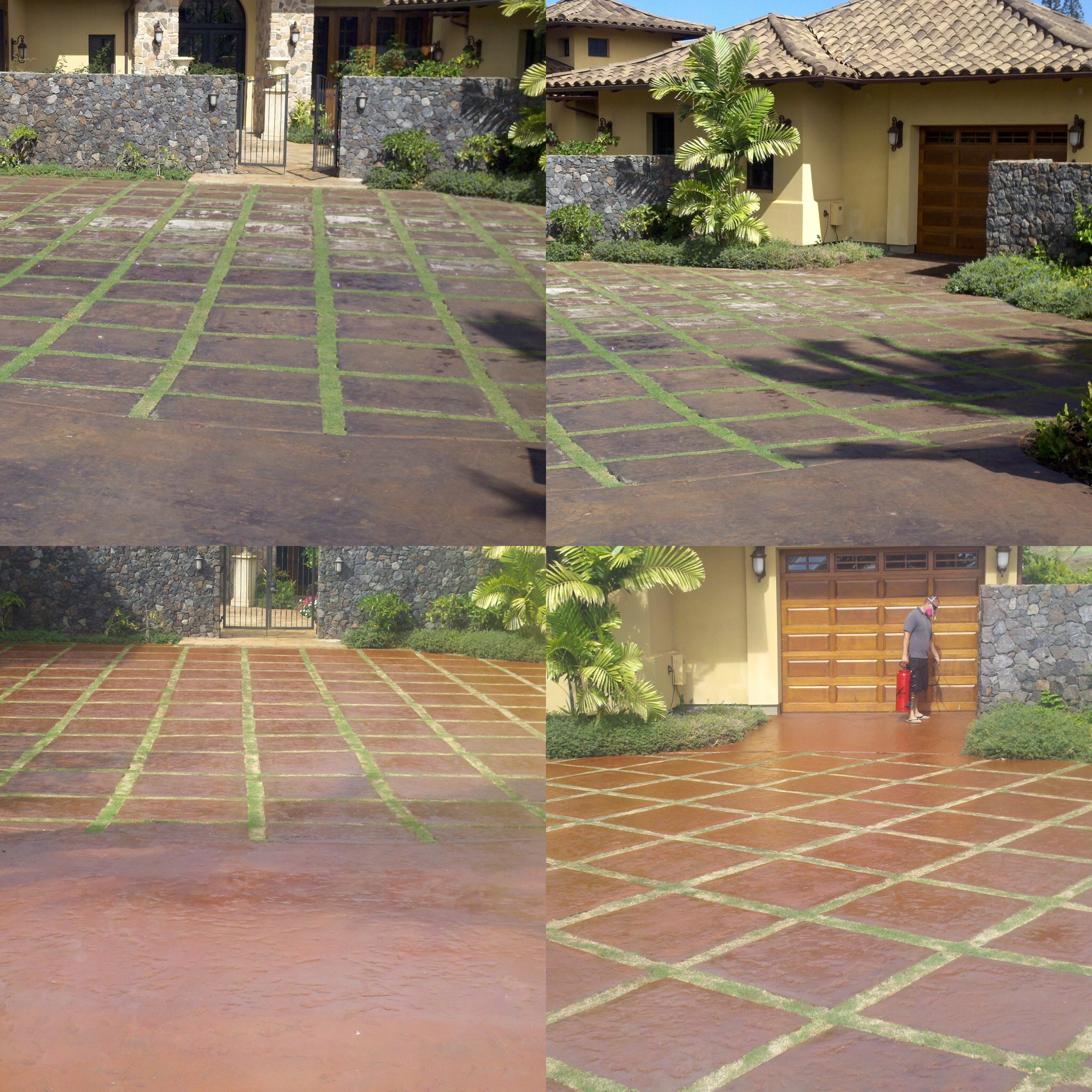 Concrete Driveway in Lanikeha kaanapali Stain & Seal Before & after