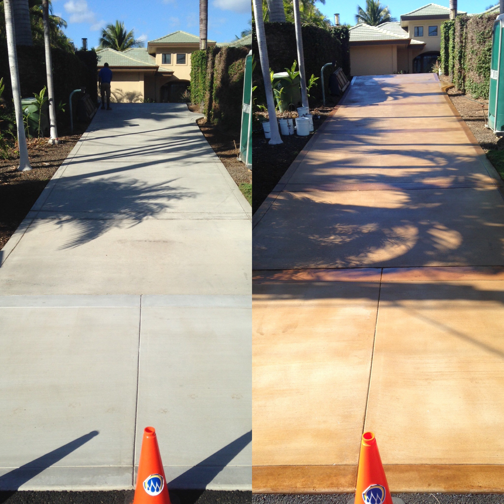 before & after driveway staining