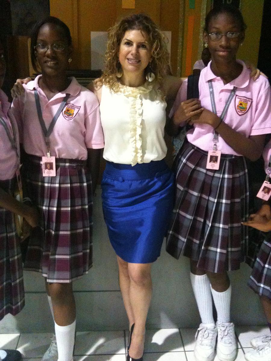 Talking to school kids in the Virgin Islands