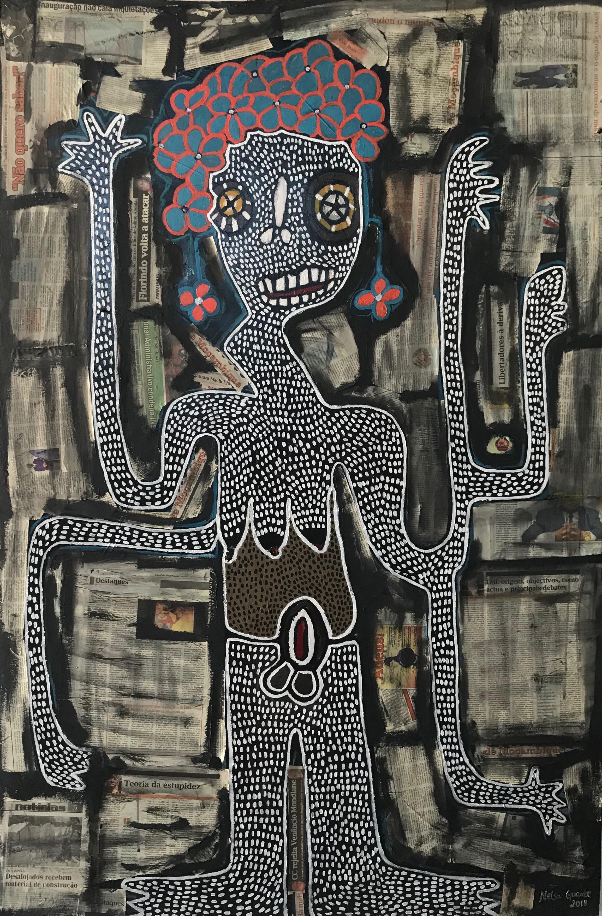 Unga si bweti khu makolo I 2019   Collage on canvas | 178x118cm