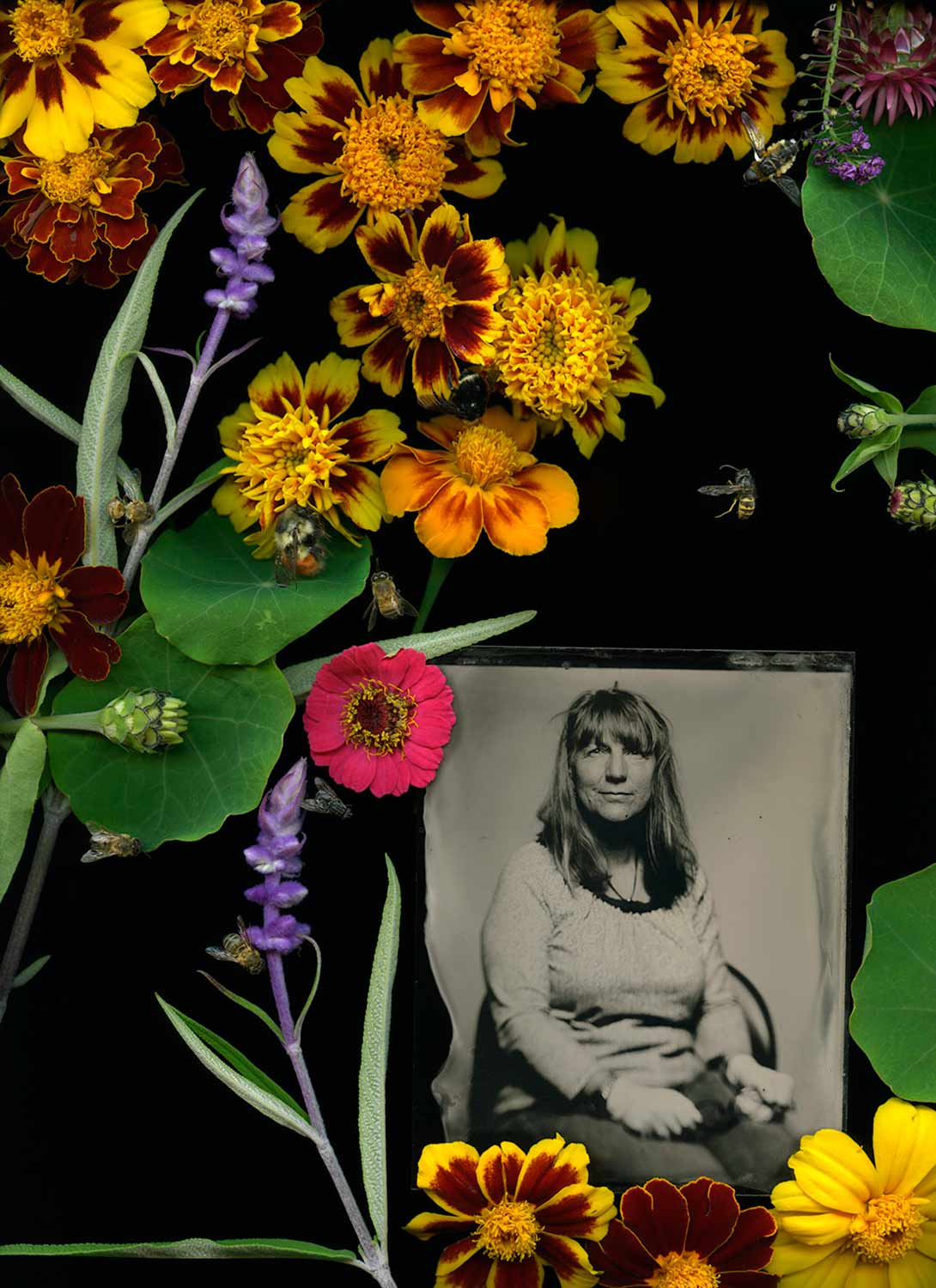 Self-portrait in wet plate collodion and marigolds.