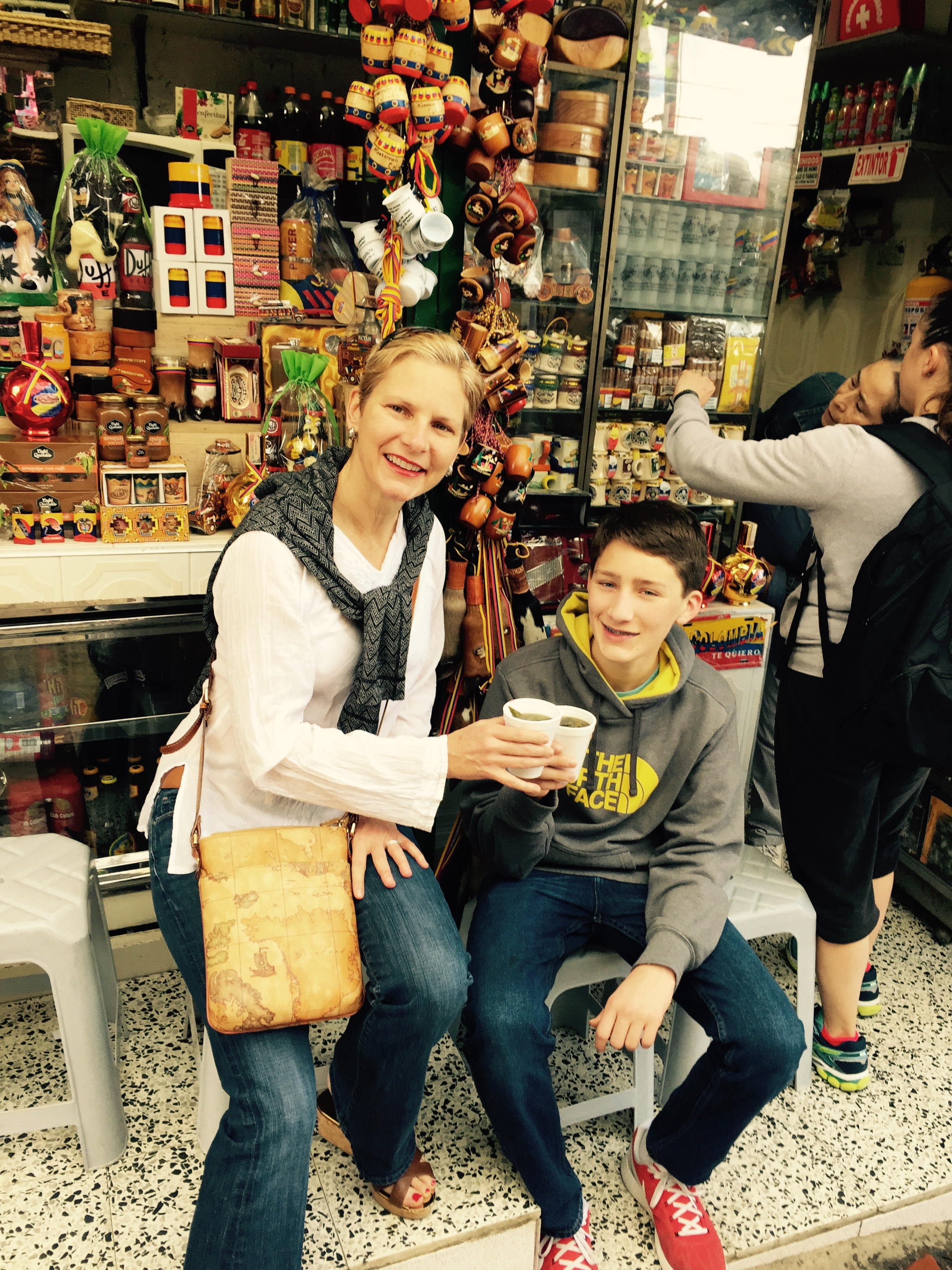 Drinking Mate at a Market in Bogota, Colombia