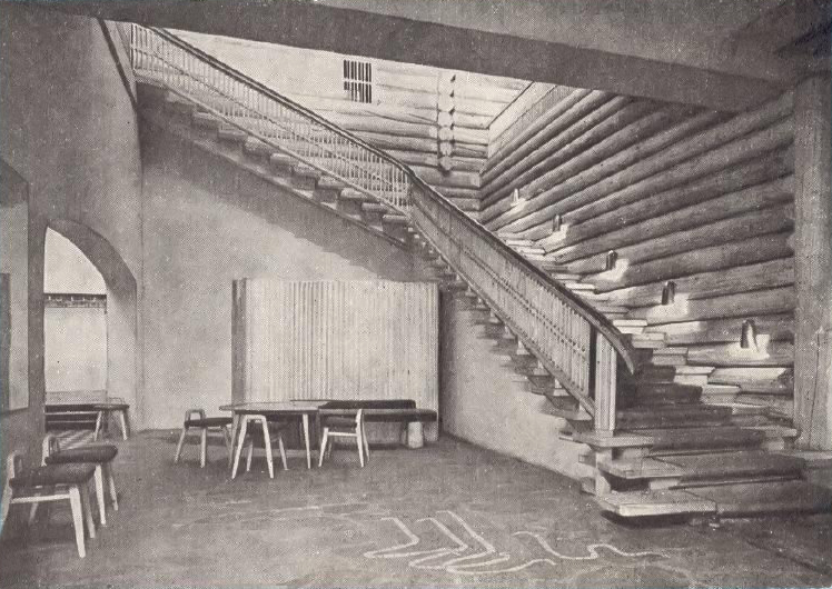 Restaurant Kestikartano, Main Entrance Hall. Brass wall sconces by Paavo Tynell. Image from a postcard c.1946 published by Kestikartano, Private collection.