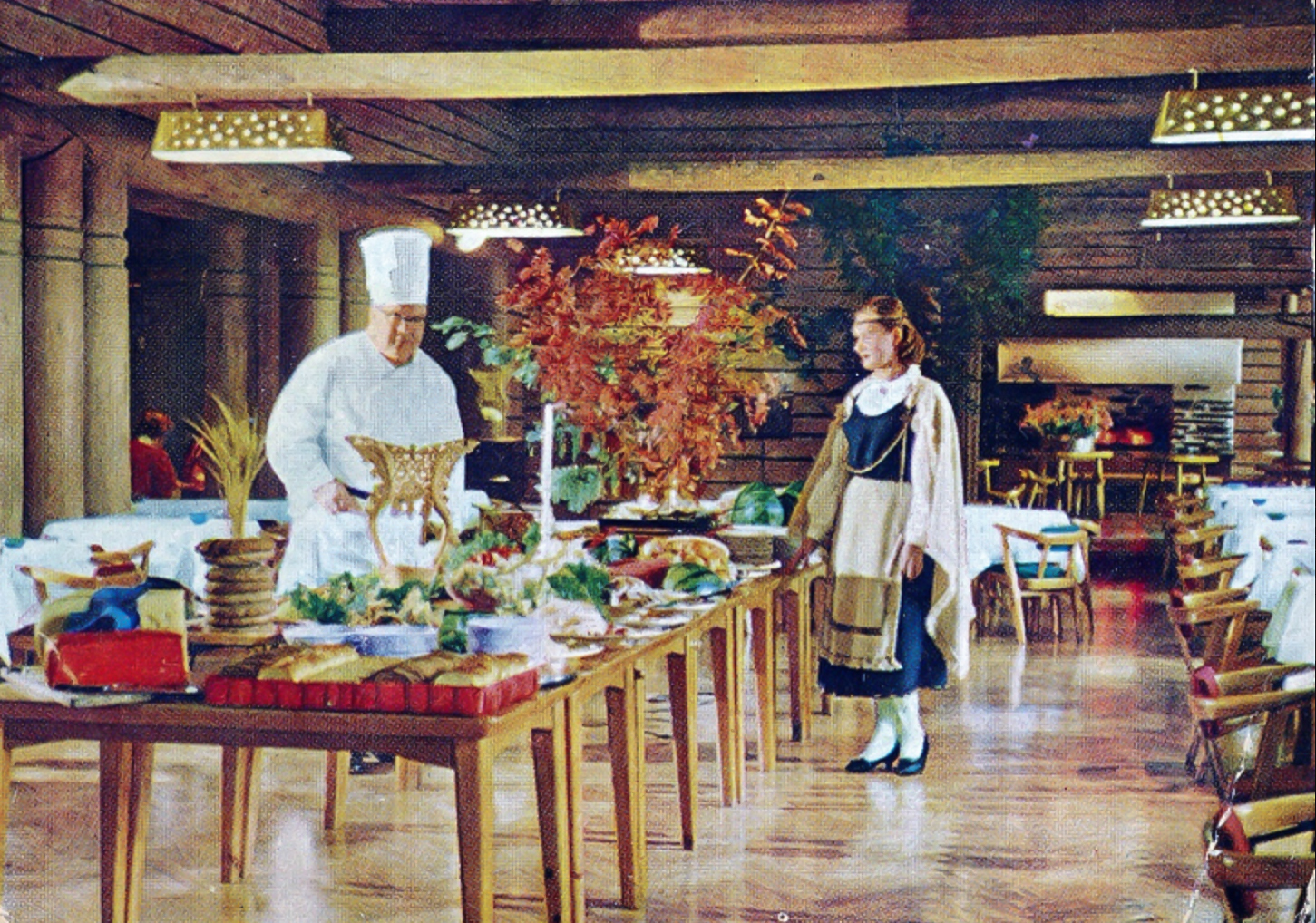 Postcard by Restaurant Kestikartano, featuring Pohjan Sali, early 1960s. Photographer unknown, Private collection.