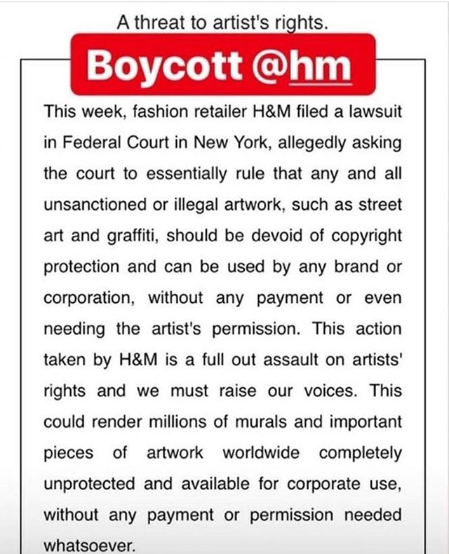 I am going to have to stand in solidarity with @_revok_  and artist across the spectrum against corporations that attempt to use artists works without paying them... fuck you @hm and your sweat shop labor practices and underpaid employees. You guys are poison to the planet and an awful example of unethical practices in business. #fuckh&m