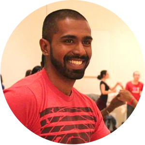 "Sundeep Sivaraman  (a.k.a Sunny D) is an assistant instructor with Rueda Con Ritmo. He first started studying Cuban Salsa with Ryan and Sidney at Google in 2012, and he's never stopped learning since. Sunny loves to be a humble show-off (see what he did there), and while he would effortlessly glide across the floor, he doesn't undermine the power of the  ponche  or the magnificence of the  mambo . In his words, ""dancing is the mind playing catch up with the body, when you're busy having fun!"""