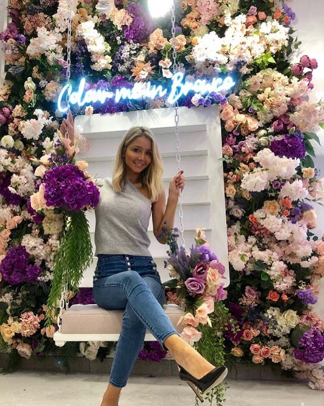 Kylie the owner of the Browco Brow & Lash Bar @browcobrowandlashbar testing out the swing in front of our custom floral wall for the upcoming launch of the new @westfieldchermside opening soon 🔥🔥 #permanentinstallation #browbar #lashes #beauty #fashion #install #flowerwall #swing #brisbane #westfieldchermside #hot #browco