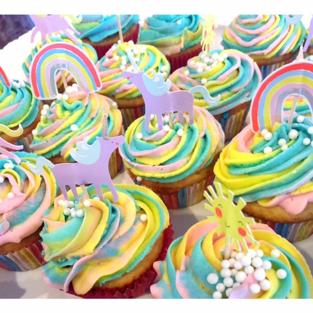 The unicorn cupcakes Andie and I made for the shower!