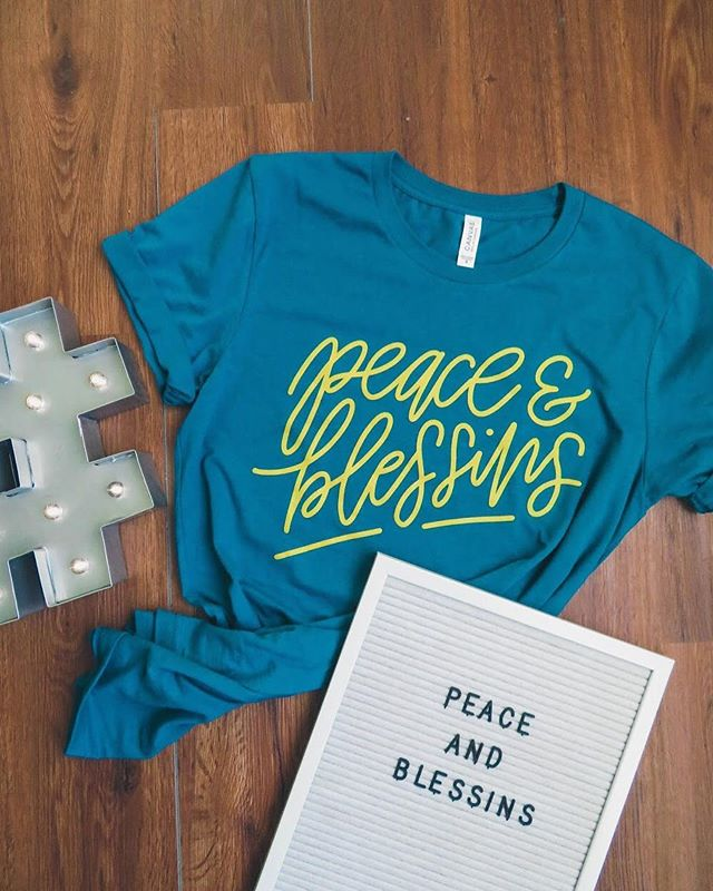 Our t-shirt is HERE!!! Go follow @missesambitious and Click the link in the bio to grab a limited edition Peace & Blessins t-shirt exclusive to Misses Ambitious! We have free U.S. shipping applied automatically at checkout until Monday, the 27th, so there's no better time to grab your shirt than now•••here's a little info on the shirts: *Bella & Canvas Unisex Jersey Tees (SUPER soft) *Gold Screenprint *hand-lettered design *i am wearing  Size Medium--the small would be more fitted, but I like a baggier shirt that I can tie at the bottom *FREE SHIPPING applied automatically at checkout until Monday the 27th!