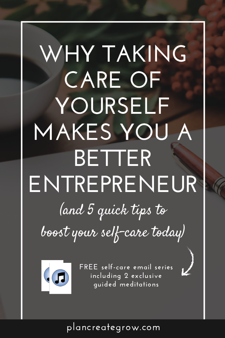 An entrepreneur takes on so many roles in order to run a successful business, especially as an online creative. Blogger. Designer. Accountant. Marketer. CEO. This can be one of the greatest joys of running your own business, but also the biggest challenge. So how do you manage all this and not lose your mind? I've put together a resource to help with just this problem. Click through to read these helpful tips and access your free self-care resource and meditations.