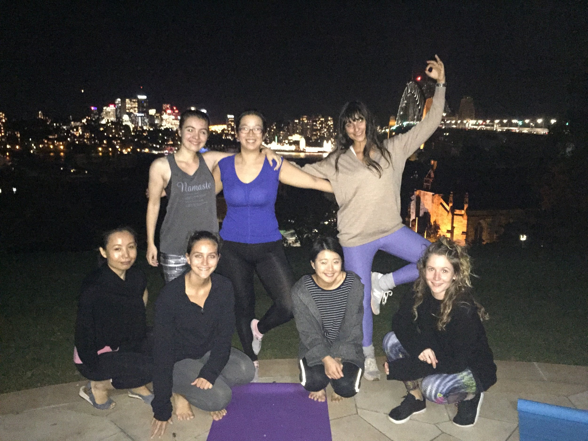 Beautiful view of the Harbour Bridge while we practiced yoga (unfortunately the flash wasn't strong enough!).