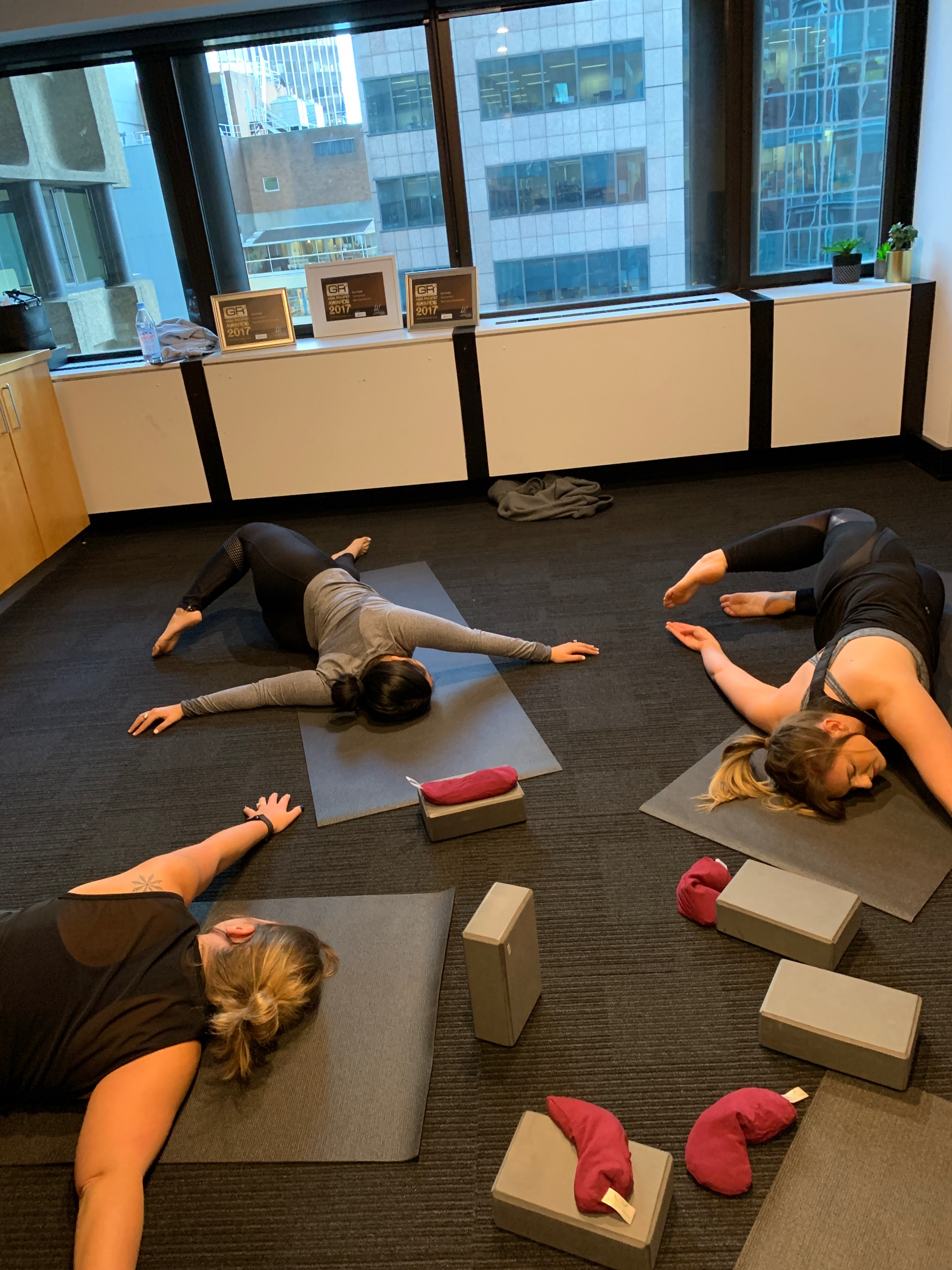 Office yoga - gentle supine twist